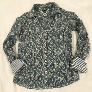 Tommy Hilfiger green blue paisley button up size S